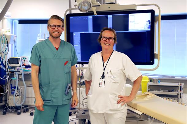 Intervensjonsradiolog Dan Levi Hykkerud  og overlege Marianne Altmann